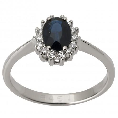 Каблучка з діамантами та кольоровим камінням 981-1369
