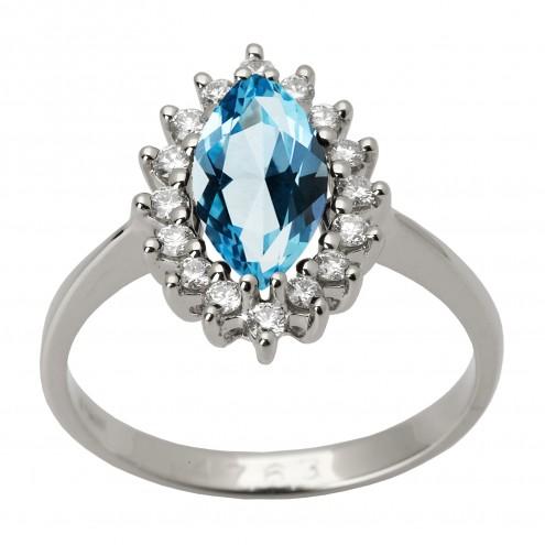 Каблучка з діамантами та кольоровим камінням 981-1370