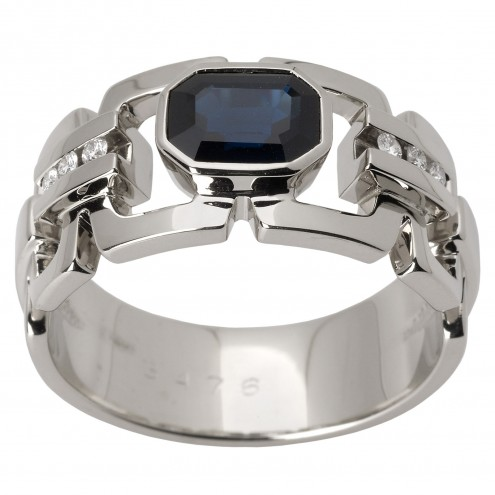 Перстень з діамантами та кольоровим камінням 981-1427