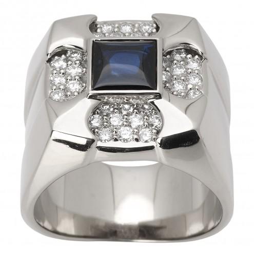 Перстень з діамантами та кольоровим камінням 981-1470