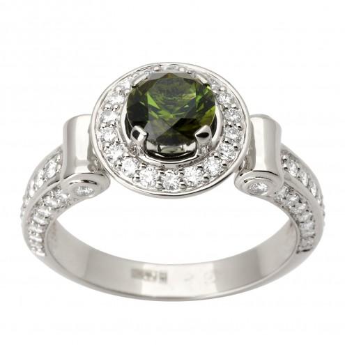 Каблучка з діамантами та кольоровим камінням 981-1577