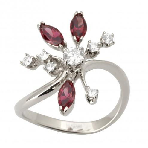 Каблучка з діамантами та кольоровим камінням 981-1717