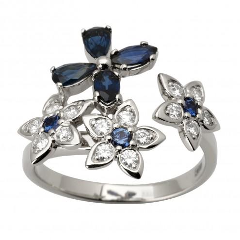 Каблучка з діамантами та кольоровим камінням 981-1783
