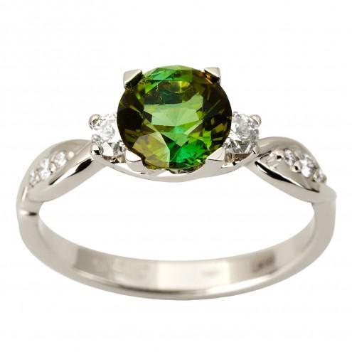 Каблучка з діамантами та кольоровим камінням 981-1878