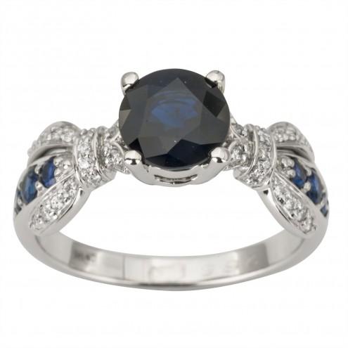 Каблучка з діамантами та кольоровим камінням 981-1893