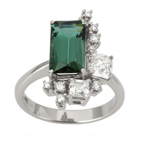 Каблучка з діамантами та кольоровим камінням 981-1922
