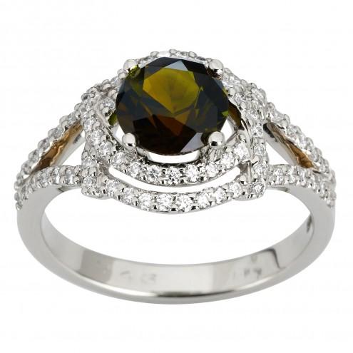 Каблучка з діамантами та кольоровим камінням 981-1928