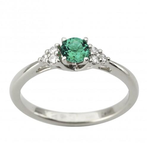Каблучка з діамантами та кольоровим камінням 981-1932