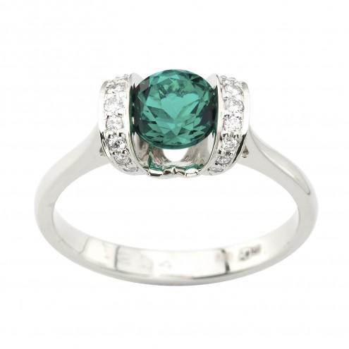 Каблучка з діамантами та кольоровим камінням 981-1958