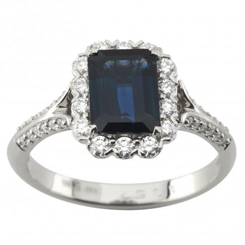 Каблучка з діамантами та кольоровим камінням 981-1961