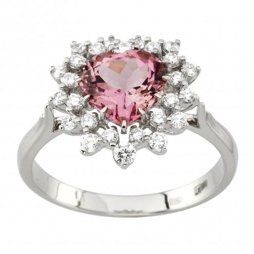 Каблучка з діамантами та кольоровим камінням 981-1980