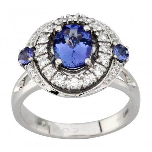Каблучка з діамантами та кольоровим камінням 981-2009