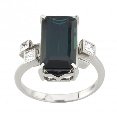 Каблучка з діамантами та кольоровим камінням 981-2022