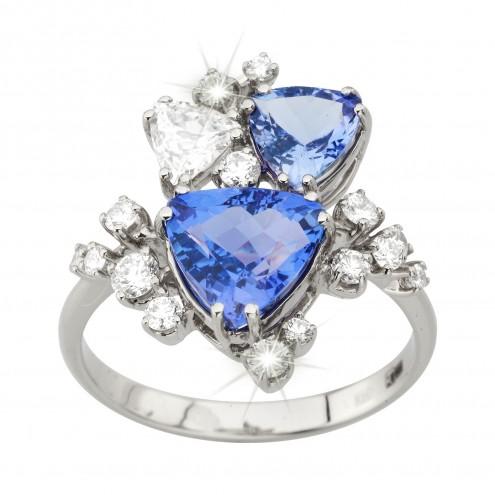 Каблучка з діамантами та кольоровим камінням 981-2024