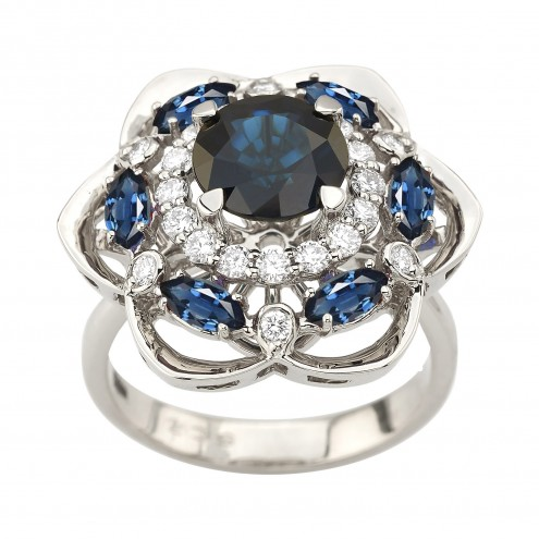 Каблучка з діамантами та кольоровим камінням 981-2115