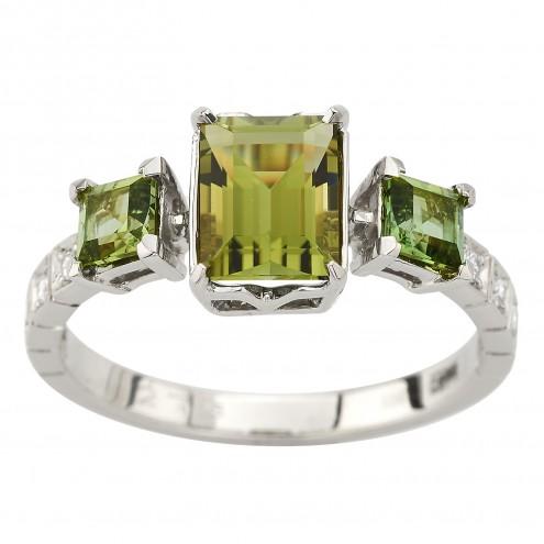 Каблучка з діамантами та кольоровим камінням 981-3030