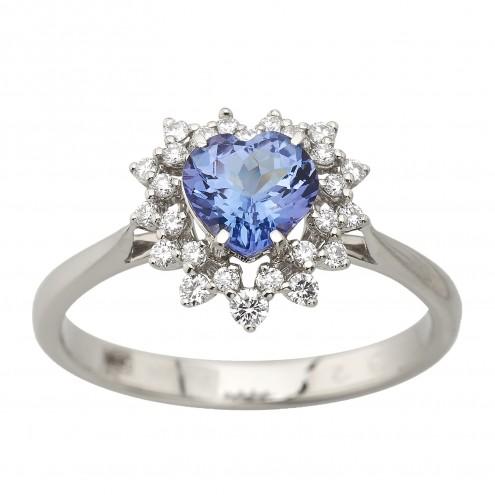 Каблучка з діамантами та кольоровим камінням 981-3032
