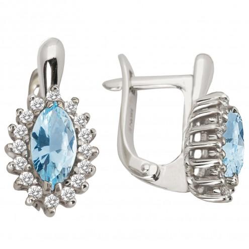 Сережки з діамантами та кольоровим камінням 982-0679
