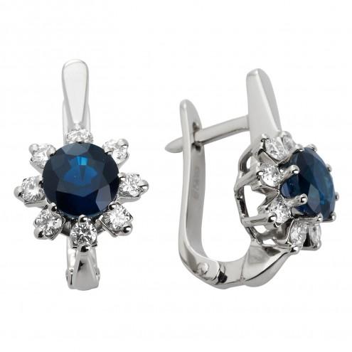 Сережки з діамантами та кольоровим камінням 982-0827