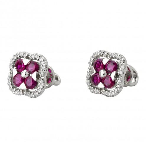 Сережки з діамантами та кольоровим камінням 982-0969