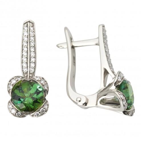 Сережки з діамантами та кольоровим камінням 982-1036