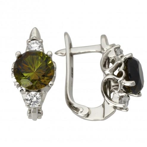 Сережки з діамантами та кольоровим камінням 982-1072