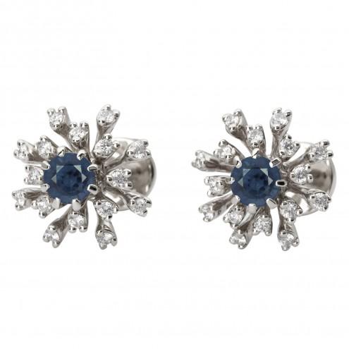 Сережки з діамантами та кольоровим камінням 982-1086