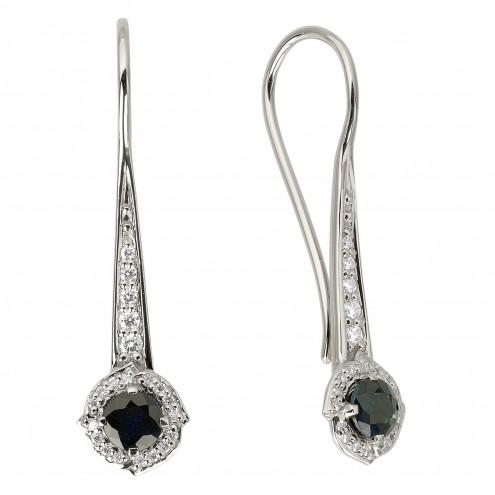 Сережки з діамантами та кольоровим камінням 982-1173