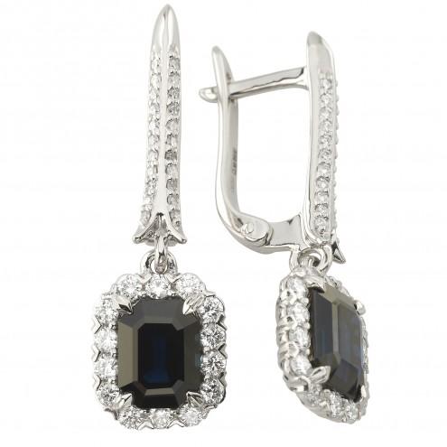 Сережки з діамантами та кольоровим камінням 982-1209