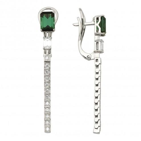 Сережки з діамантами та кольоровим камінням 982-1333