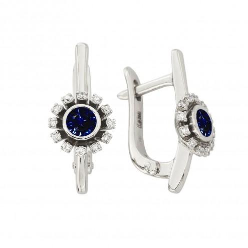 Сережки з діамантами та кольоровим камінням 982-1356