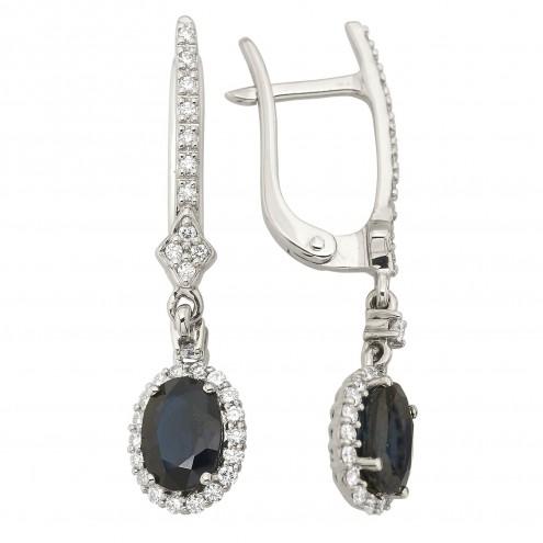 Сережки з діамантами та кольоровим камінням 982-2037