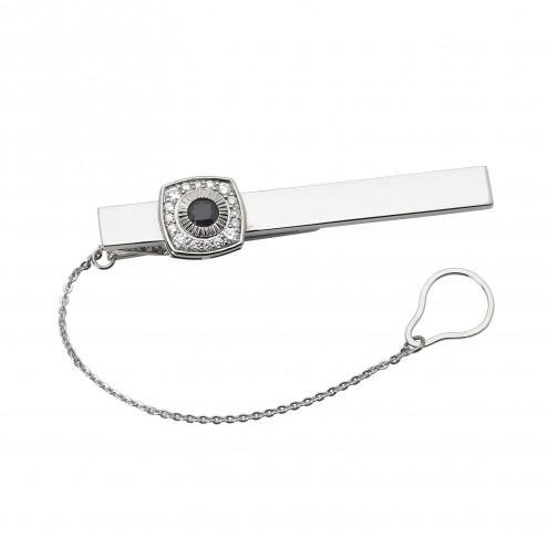 Затискач для краватки з діамантами та кольоровим камінням 985-0061