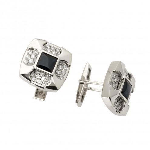 Запонки з діамантами та кольоровим камінням 986-0066