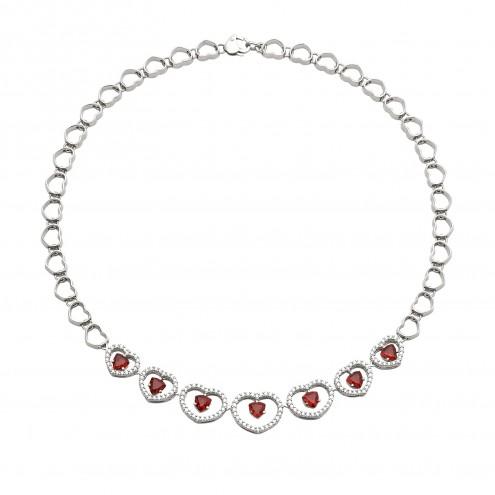 Кольє з діамантами та кольоровим камінням 987-0045