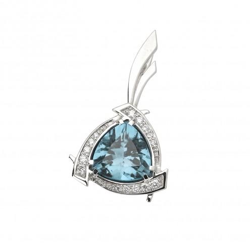 Підвіска з діамантами та кольоровим камінням 989-0400