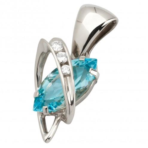 Підвіска з діамантами та кольоровим камінням 989-0585