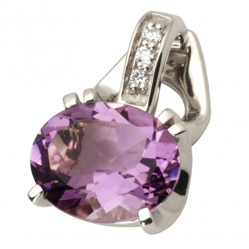Підвіска з діамантами та кольоровим камінням 989-0696