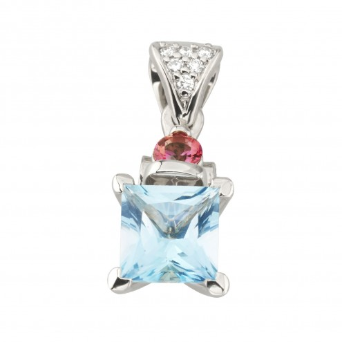 Підвіска з діамантами та кольоровим камінням 989-0868