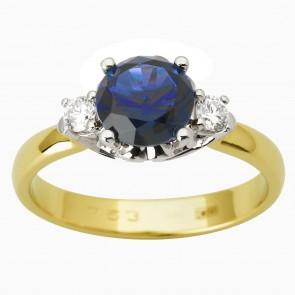 Каблучка з діамантами та кольоровим камінням 381-1810