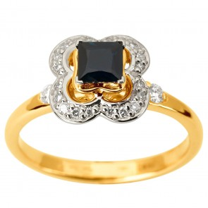 Каблучка з діамантами та кольоровим камінням 381-1870