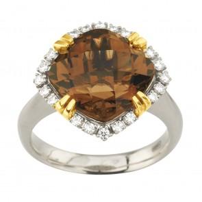 Каблучка з діамантами та кольоровим камінням 381-2076