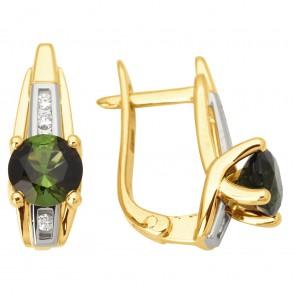 Сережки з діамантами та кольоровим камінням 382-1046