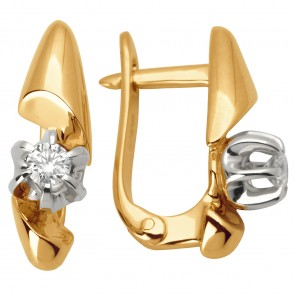 Сережки з 1 діамантом 822-0897