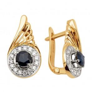 Сережки з діамантами та кольоровим камінням 882-0846
