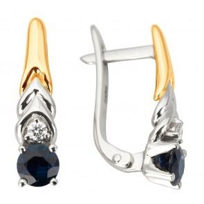 Сережки з діамантами та кольоровим камінням 882-1186
