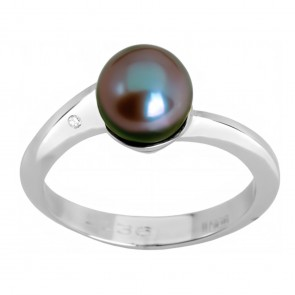 Каблучка з перлиною та діамантами 961-0290