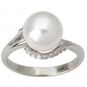 Каблучка з перлиною та діамантами 961-1827