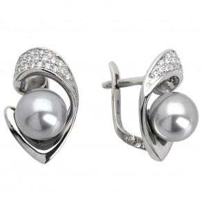 Сережки з перлиною та діамантами 962-0339