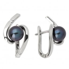 Сережки з перлиною та діамантами 962-0623